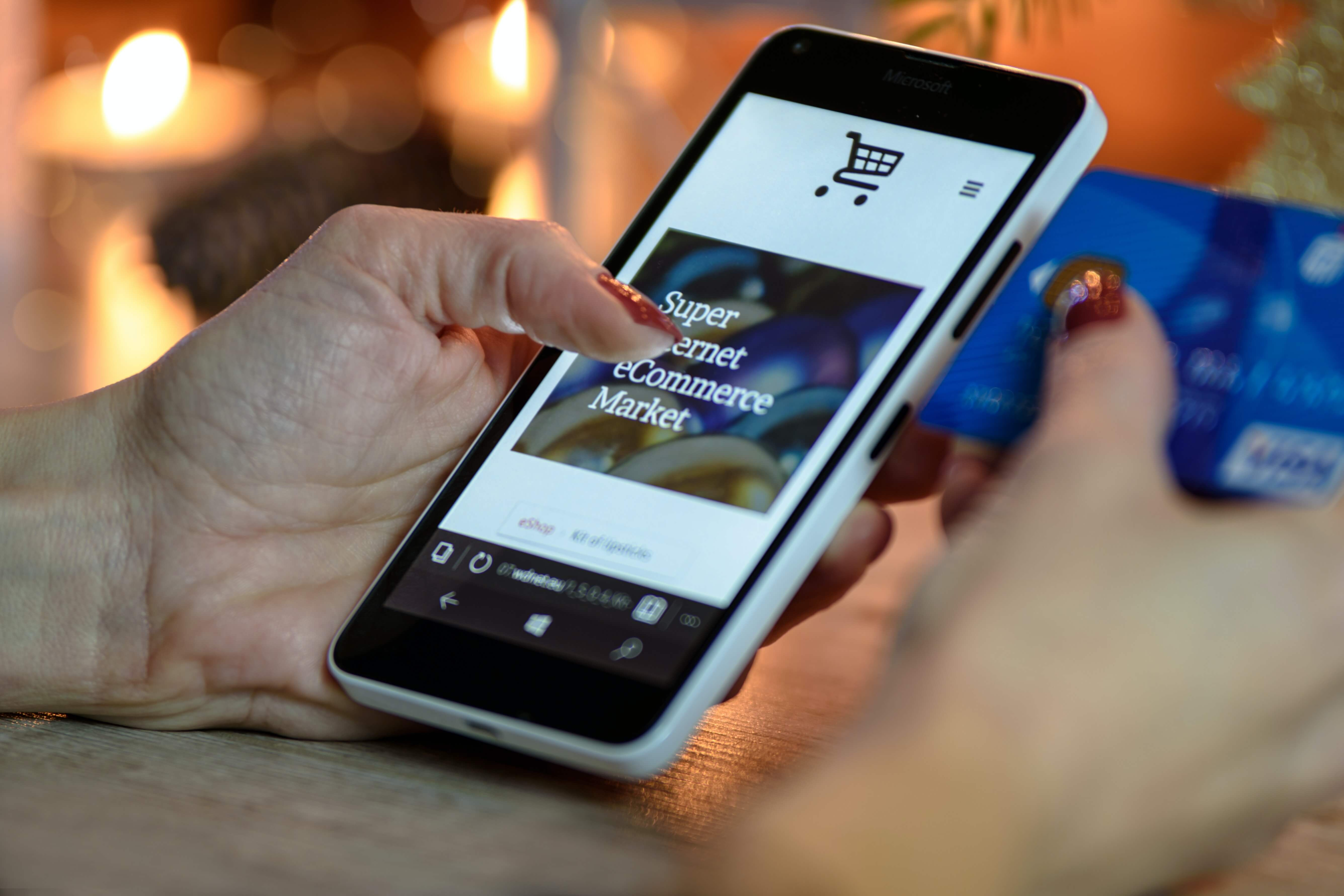 eCommerce website on mobile